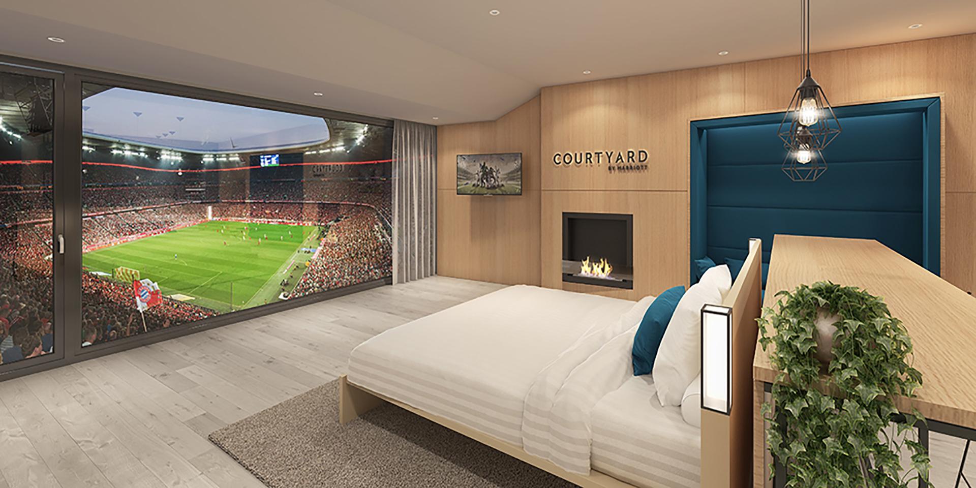 Une chambre d'hôtel avec vue imprenable sur la pelouse du Bayern Munich