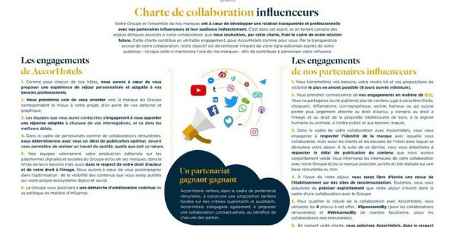 Charte de collaboration entre ACCOR et les influenceurs