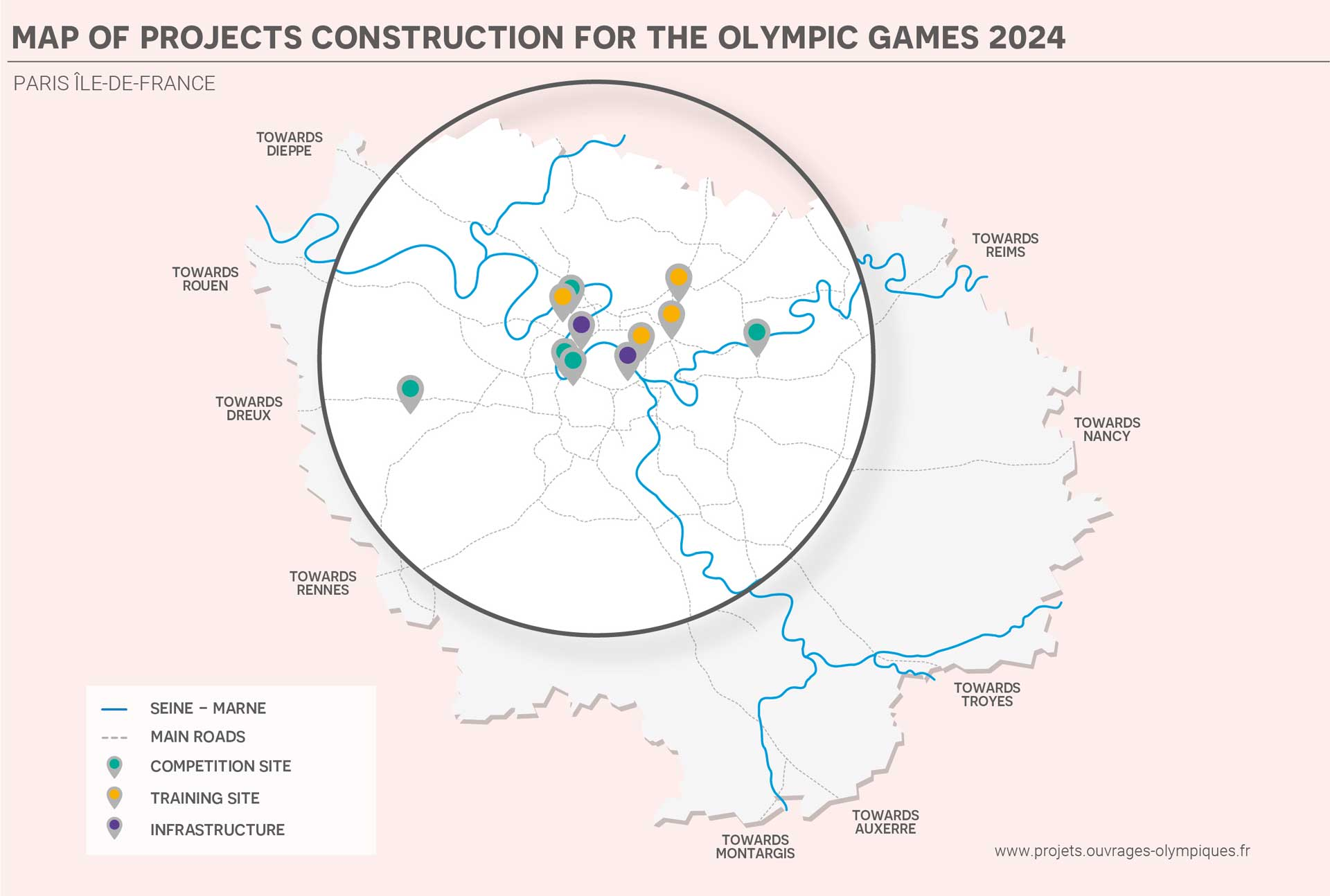Map of Projects Construction for the Olympic Games 2024