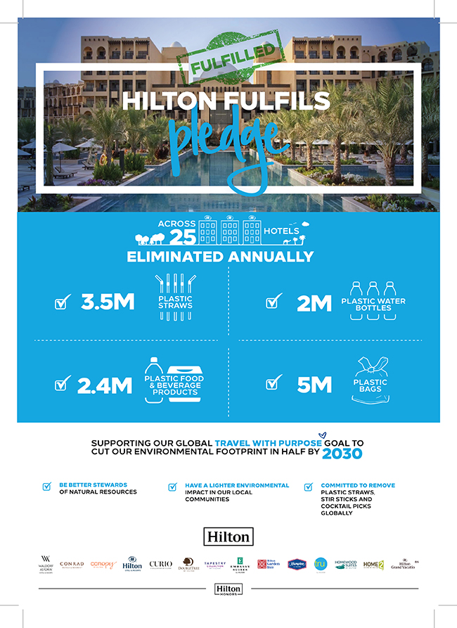 Hilton - plastic free hotels in UAE