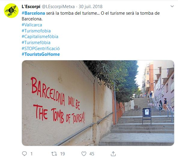 Tag anti-touristes à Barcelone