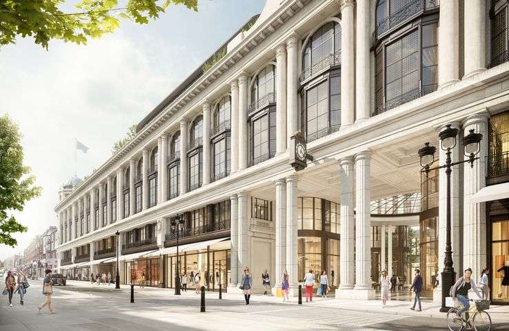 Restored Grade II listed Whiteleys façade looking south towards Hyde Park. Photo credit: Lightfield for Foster + Partners