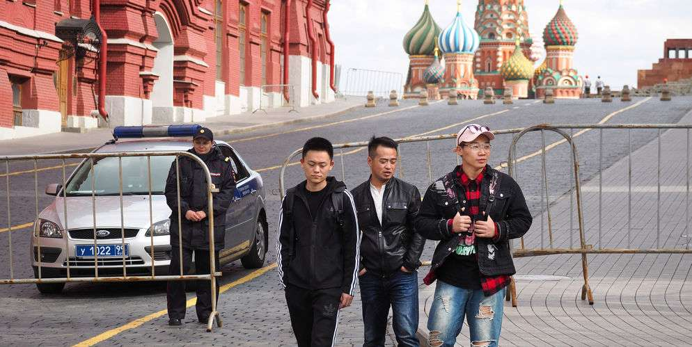 Chinese tourists visiting Russia.