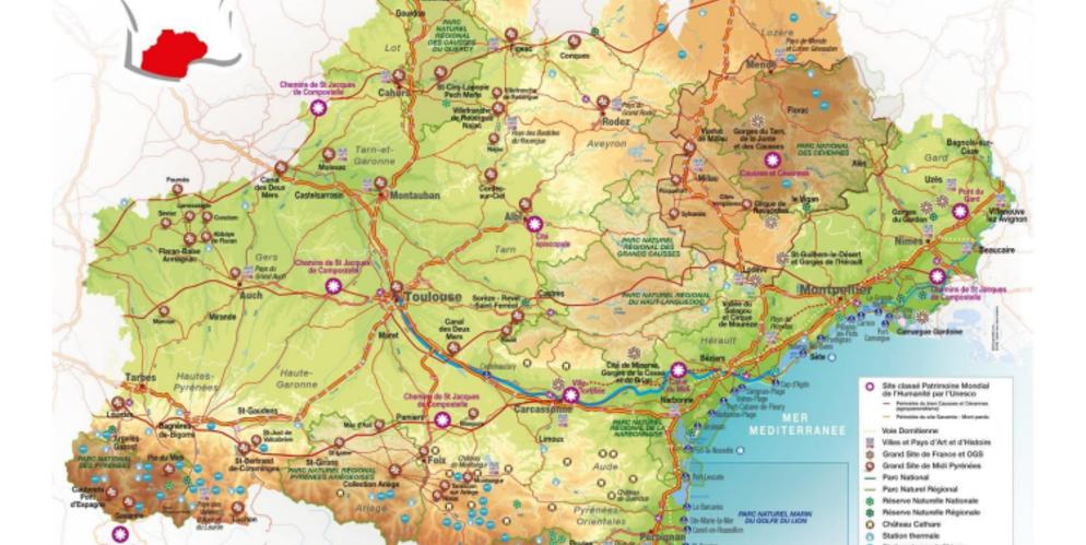 carte touristique france sud